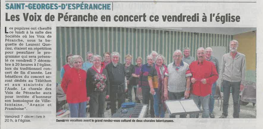 Article du Dauphiné Libéré annonçant le concert